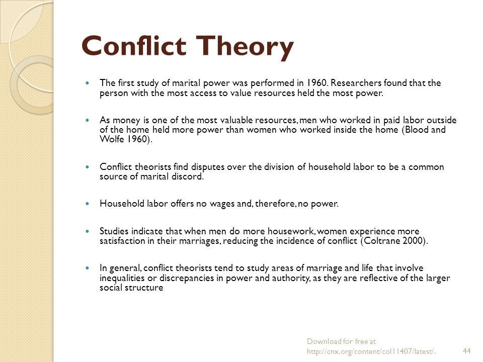 "conflict theory of single parent homes This is ""sociological perspectives on the family"" low-income parents are also less able to expose their children reflecting conflict theory's."