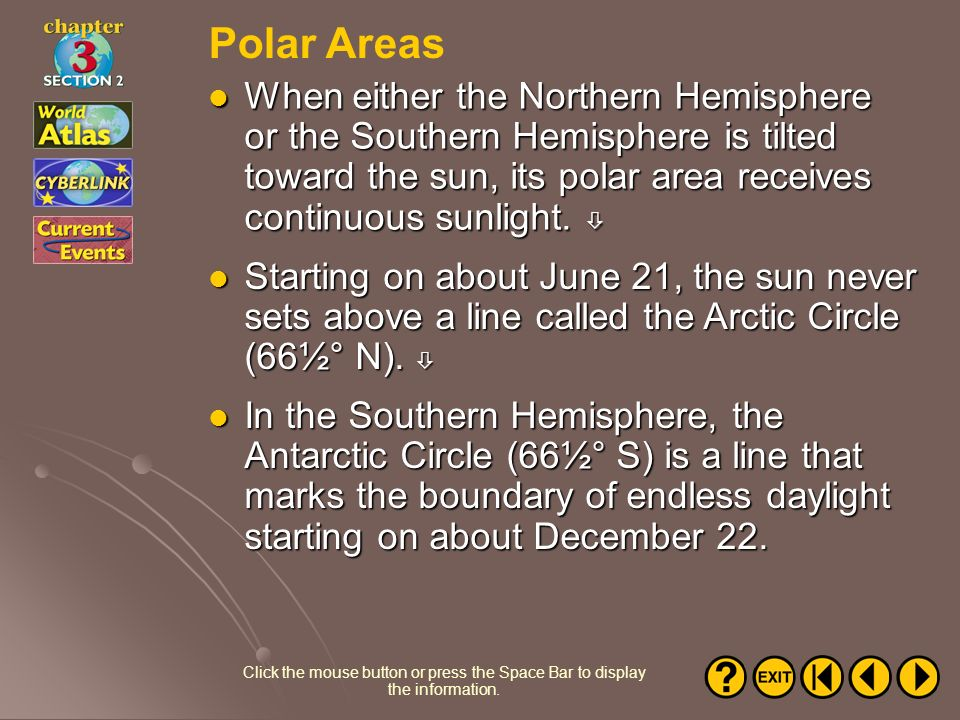 Polar Areas When either the Northern Hemisphere or the Southern Hemisphere is tilted toward the sun, its polar area receives continuous sunlight. 