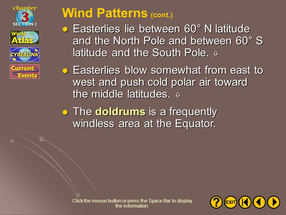 Wind Patterns (cont.) Easterlies lie between 60° N latitude and the North Pole and between 60° S latitude and the South Pole. 