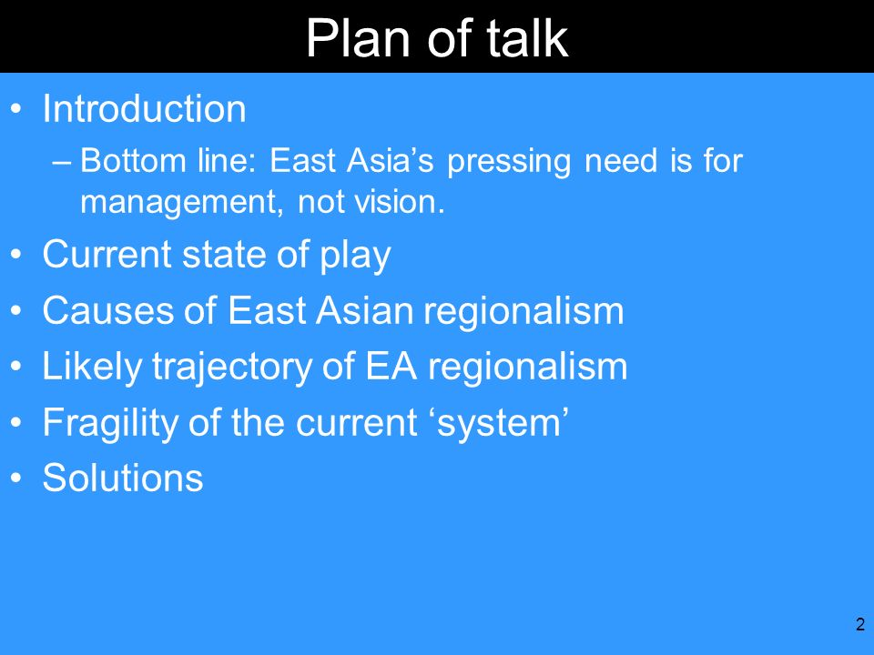 Plan of talk Introduction Current state of play