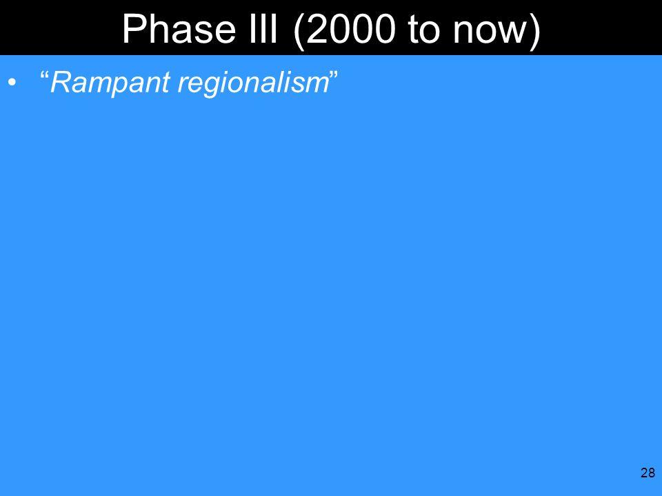 Phase III (2000 to now) Rampant regionalism