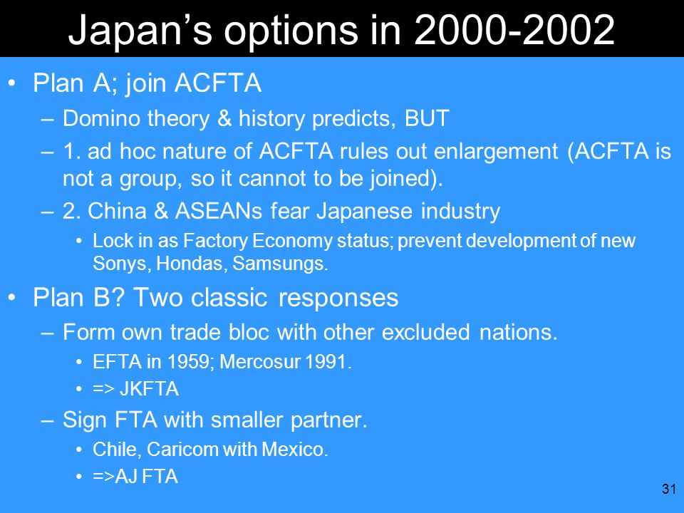 Japan's options in 2000-2002 Plan A; join ACFTA