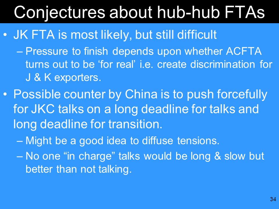 Conjectures about hub-hub FTAs