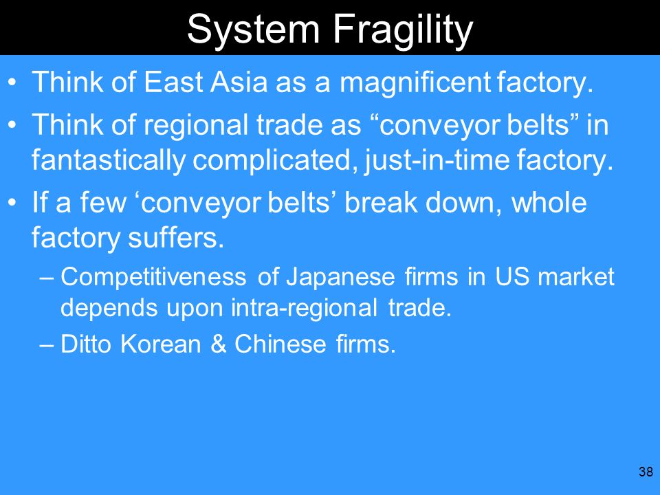 System Fragility Think of East Asia as a magnificent factory.
