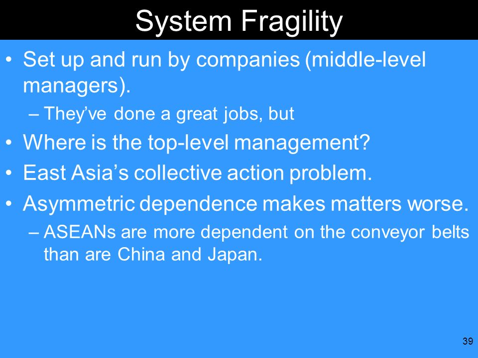 System Fragility Set up and run by companies (middle-level managers).