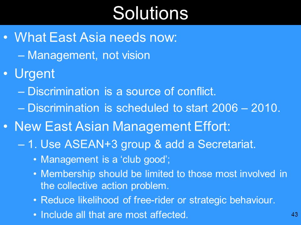 Solutions What East Asia needs now: Urgent