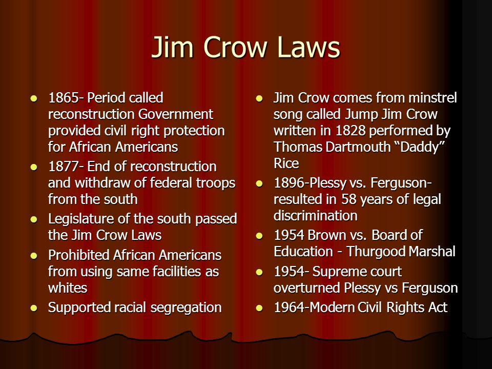 reconstruction and the jim crow laws essay The jim crow laws were considered legally fair , but they were really degrading to blacks in most public facilities the laws basically allowed racism and discrimination, but said it wasn't blacks faced many places and spots that were segregated mainly in the south.