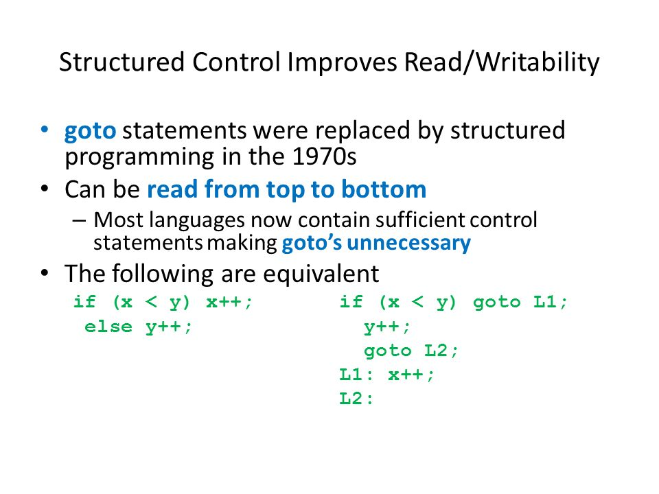 Structured Control Improves Read/Writability