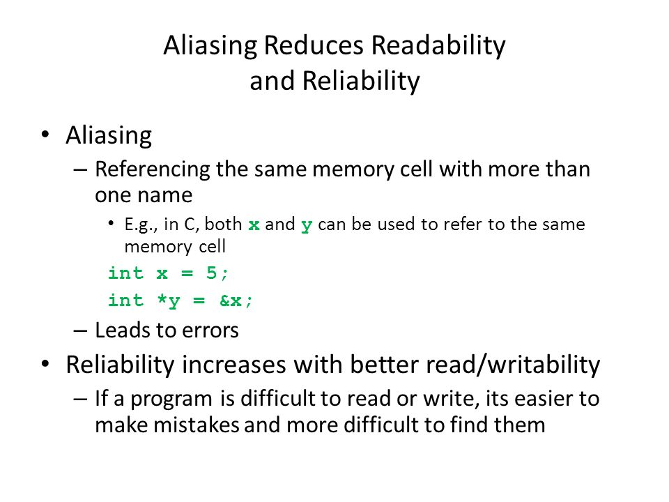 Aliasing Reduces Readability and Reliability