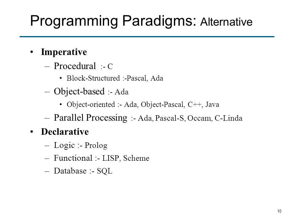 Programming Paradigms: Alternative