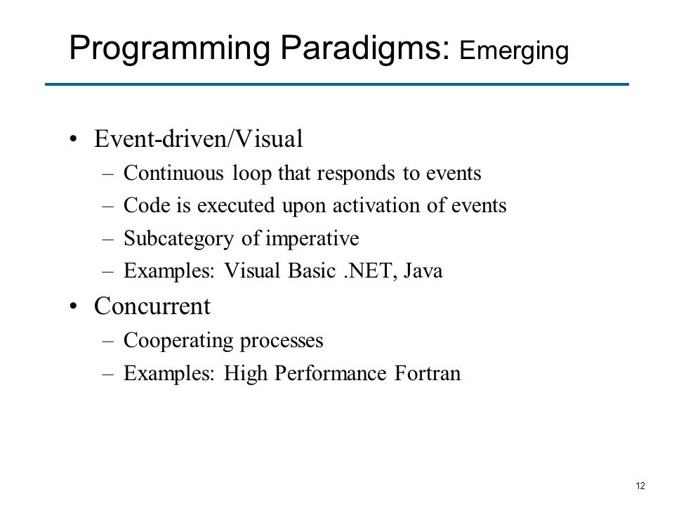 Programming Paradigms: Emerging