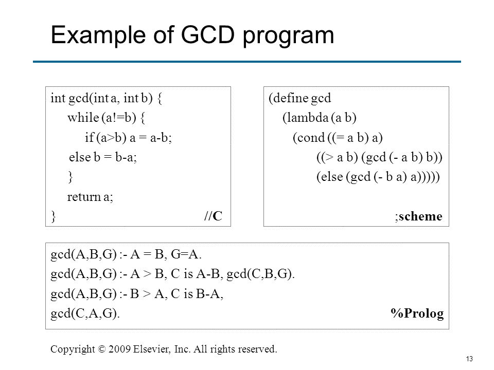 Example of GCD program int gcd(int a, int b) { while (a!=b) {