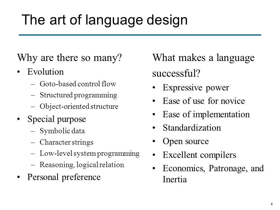 The art of language design
