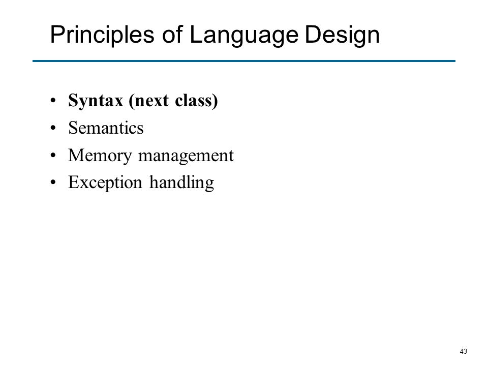 Principles of Language Design