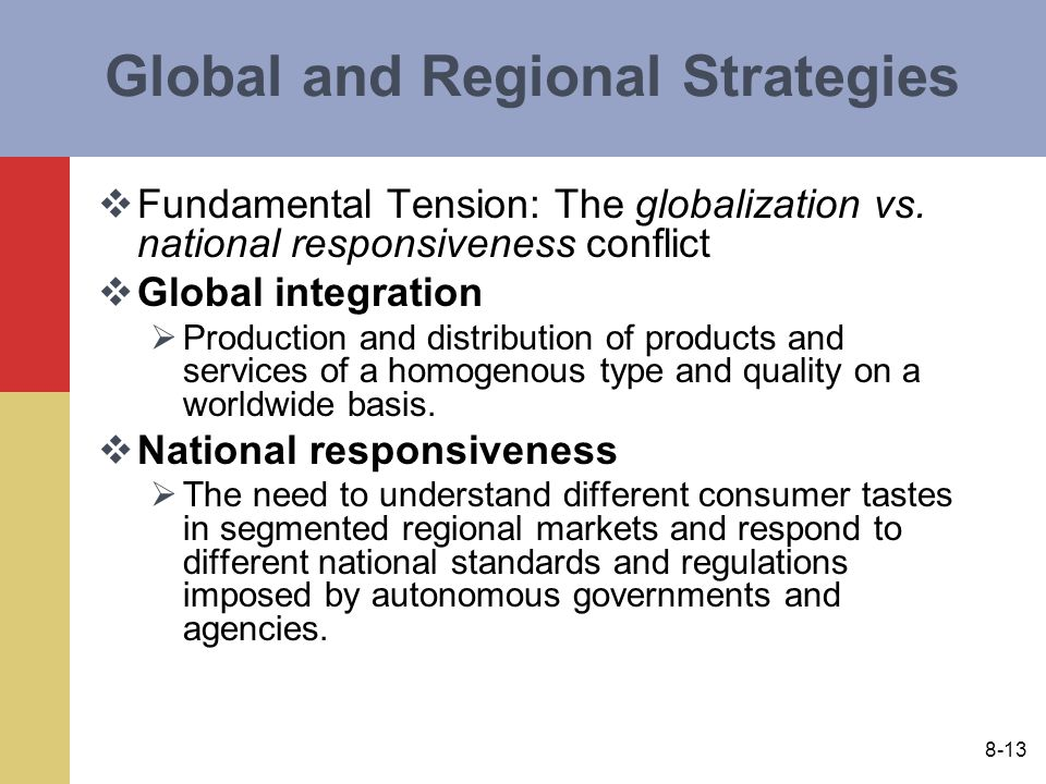 global integration national responsiveness Global strategic management,  local responsiveness, minimized political risk,  but maintain some global integration in order to realize cost benefits.
