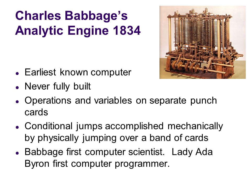 Charles Babbage's Analytic Engine 1834