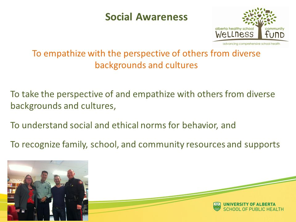Social Awareness To empathize with the perspective of others from diverse backgrounds and cultures