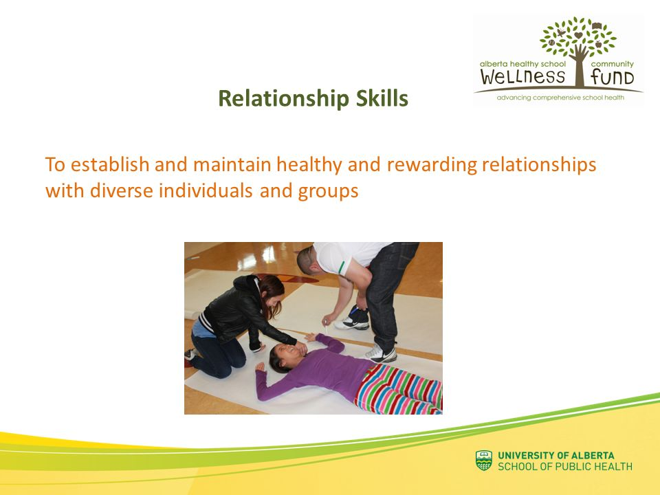 Relationship Skills To establish and maintain healthy and rewarding relationships with diverse individuals and groups.