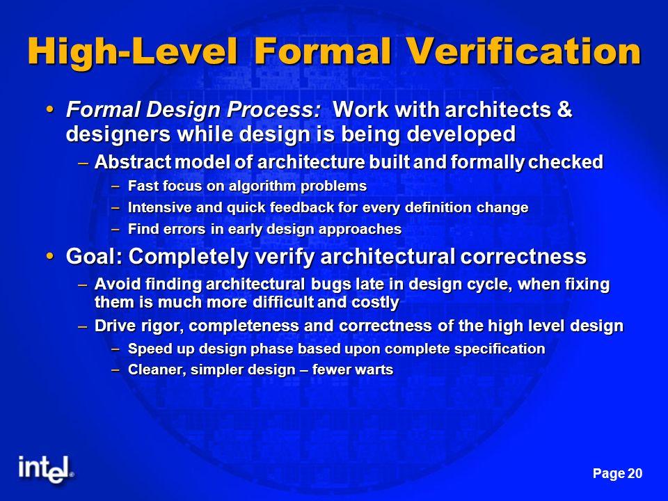 High-Level Formal Verification