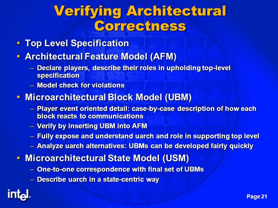 Verifying Architectural Correctness
