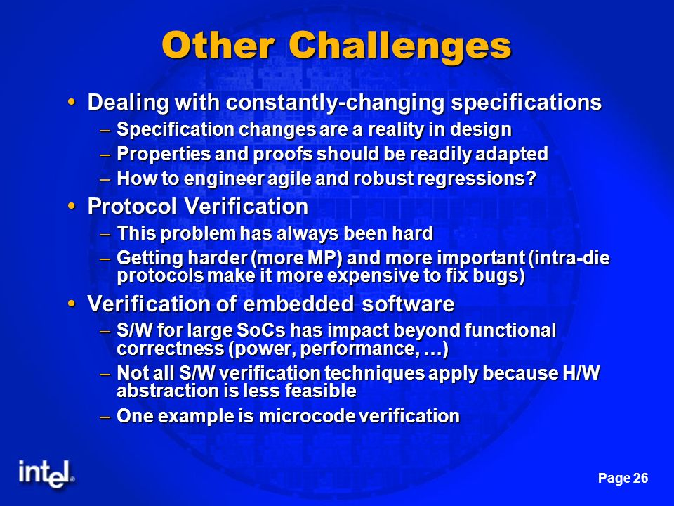 Other Challenges Dealing with constantly-changing specifications