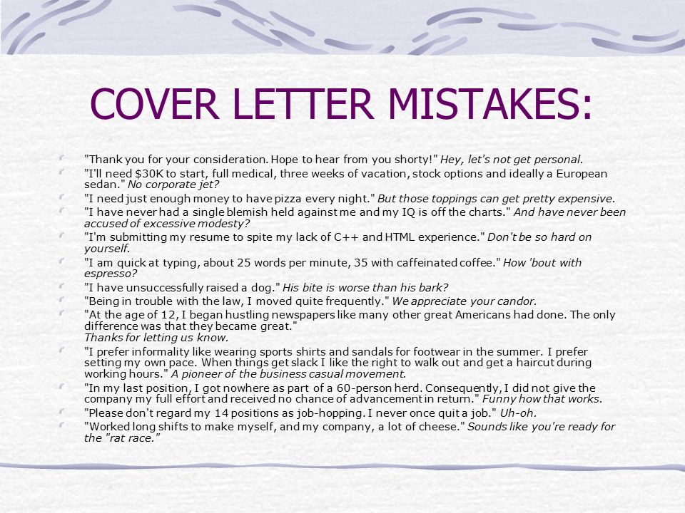 16 COVER LETTER MISTAKES: