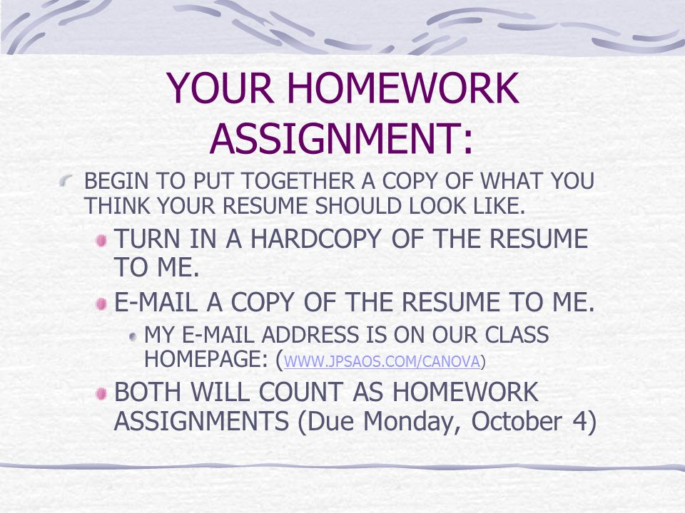 21 your homework assignment begin to put together