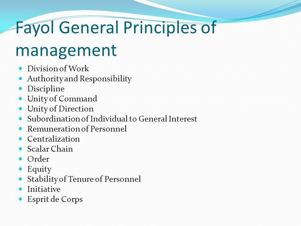 Fayol General Principles of management