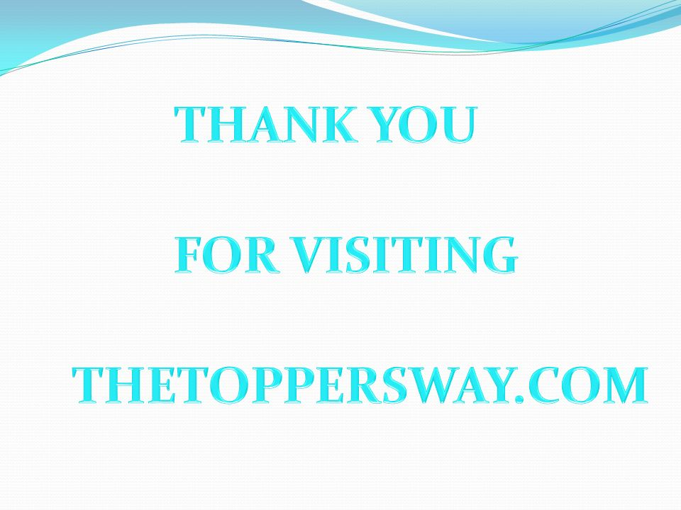 THANK YOU FOR VISITING THETOPPERSWAY.COM