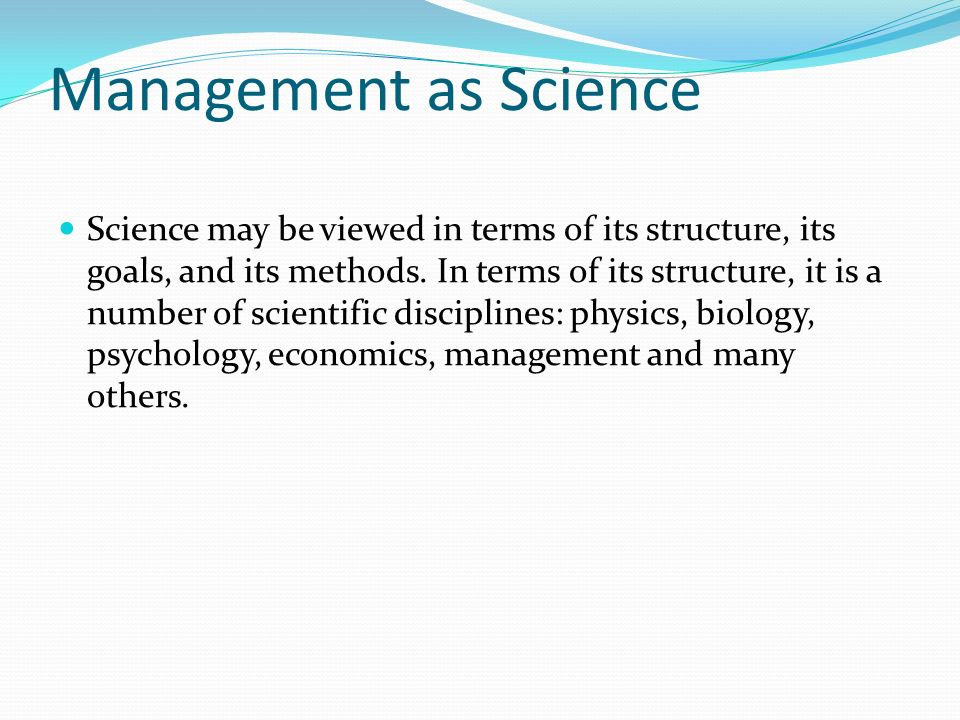 Management as Science