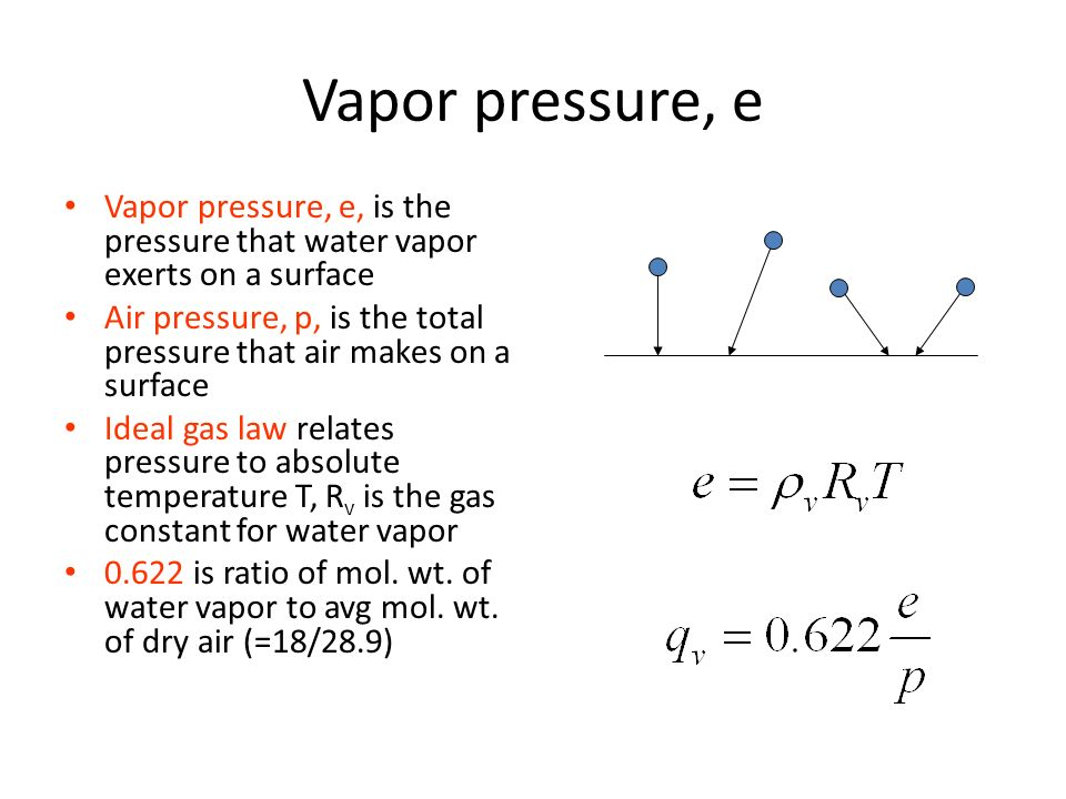 vapor pressure example education t ideal gas law