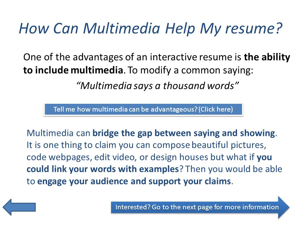how can multimedia help my resume