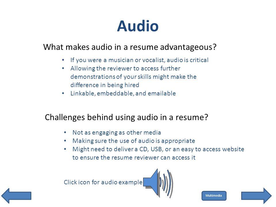 audio what makes audio in a resume advantageous