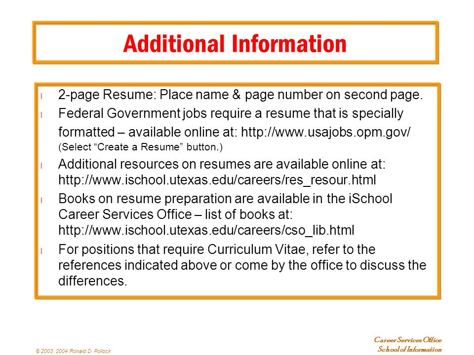 additional information for resumes