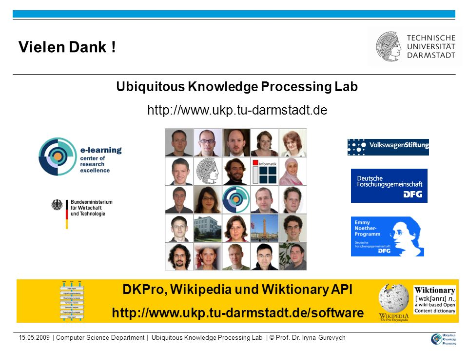 Vielen Dank ! Ubiquitous Knowledge Processing Lab