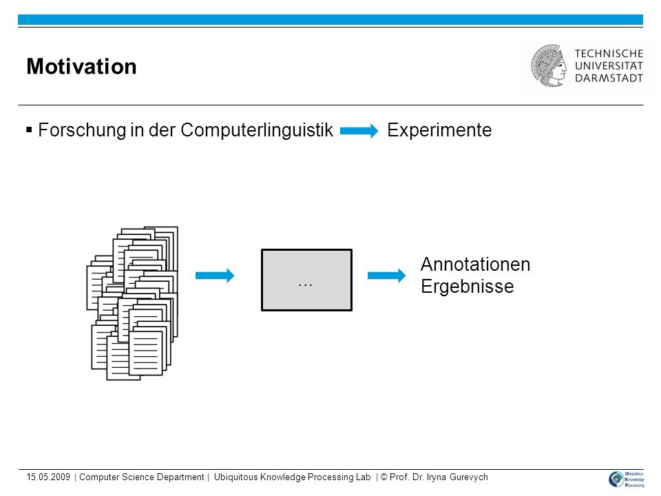 Motivation Forschung in der Computerlinguistik Experimente