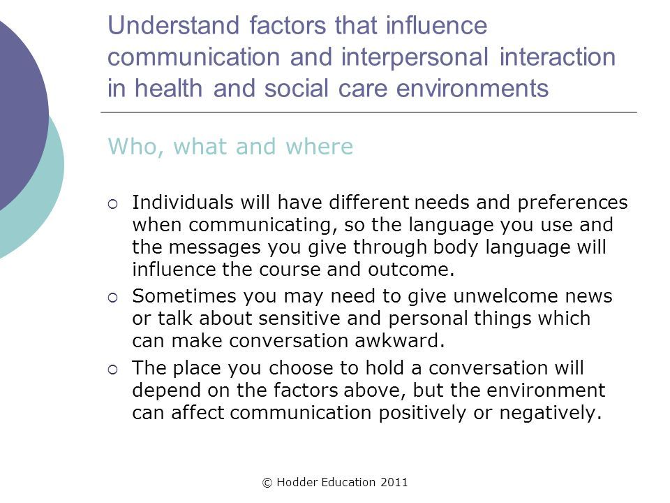 interpersonal interactions in health and social care essay In this assignment i will be going to explain the factors which can impact upon effective communication and interpersonal interaction and discuss the importance of communication in a health.