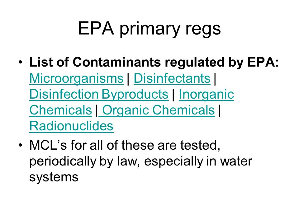 Epa Primary Drinking Water Regulations And Secondary Standards