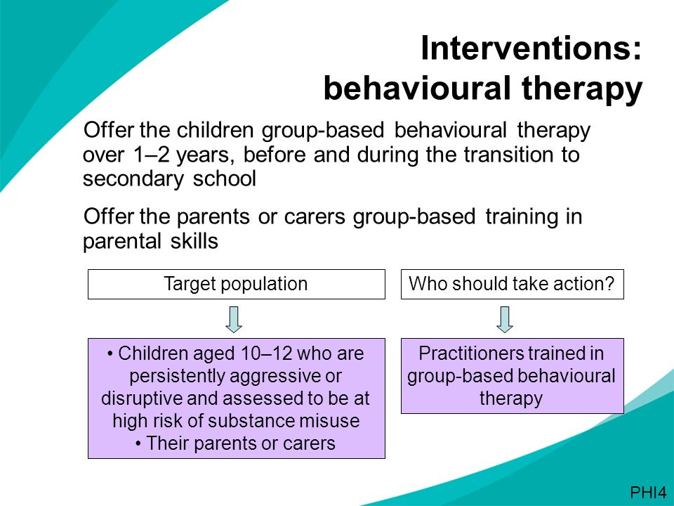 Interventions: behavioural therapy