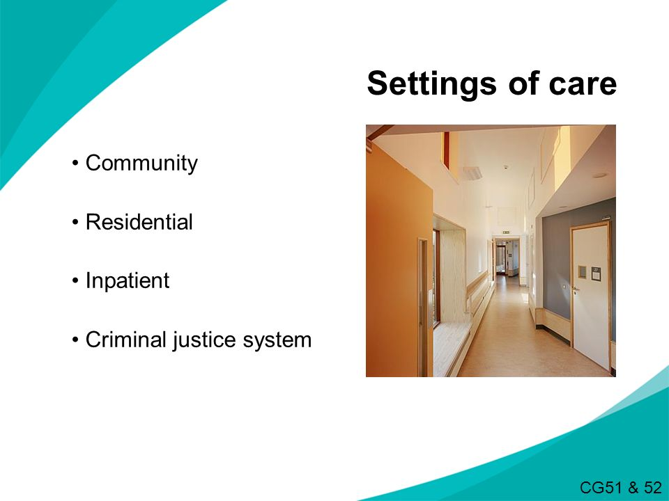 Settings of care Community Residential Inpatient