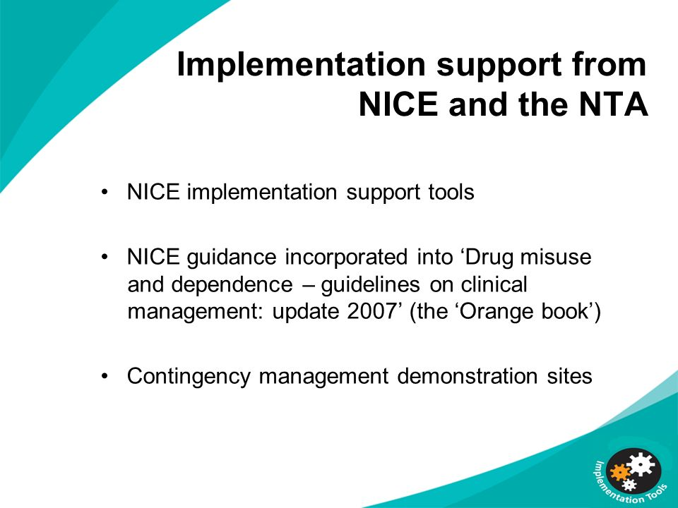 Implementation support from NICE and the NTA