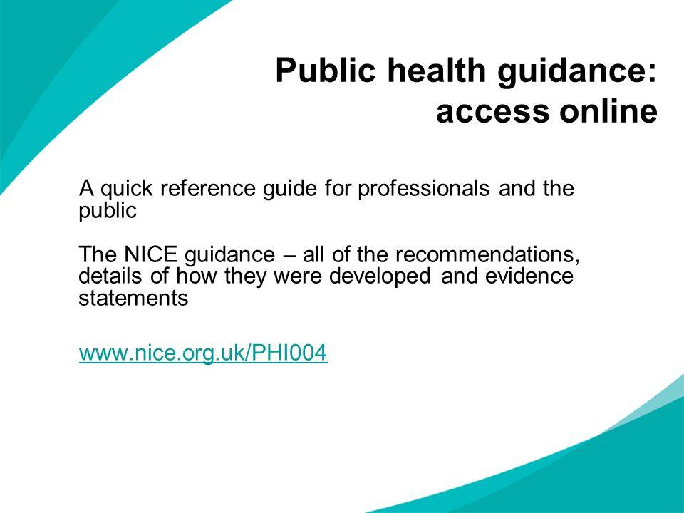 Public health guidance: access online