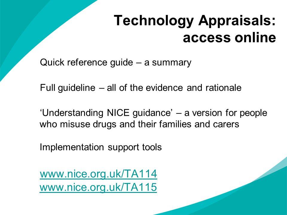 Technology Appraisals: access online