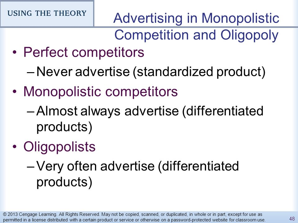monopolistic competition or differentiated oligopoly The differentiated oligopoly and duopoly, that is, where there is product differentiation as in the case of monopolistic competition the individual producer of a differentiated product under oligopoly faces his own distinct demand function.