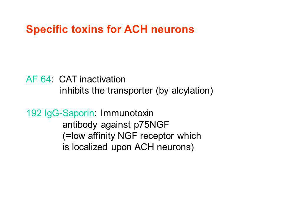 Specific toxins for ACH neurons