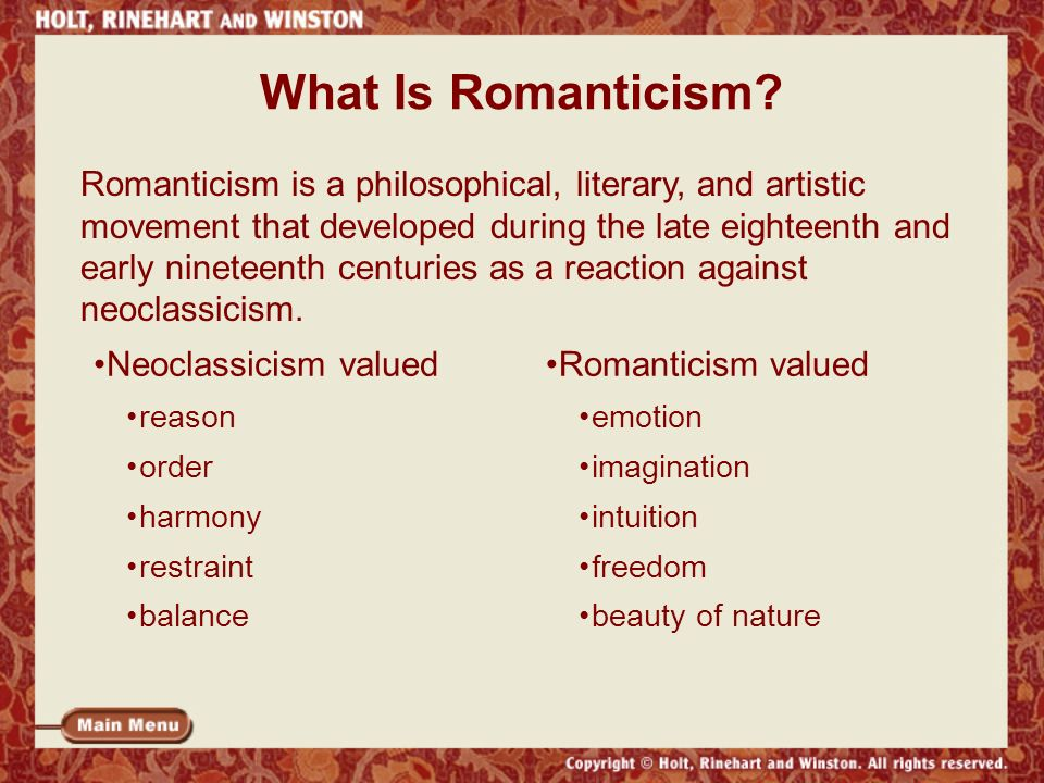 romanticism a literary movement Romanticism was a literary movement that began to emerge during the end of the  18th century with its emphasis on the subjective aspects of life, romanticism.