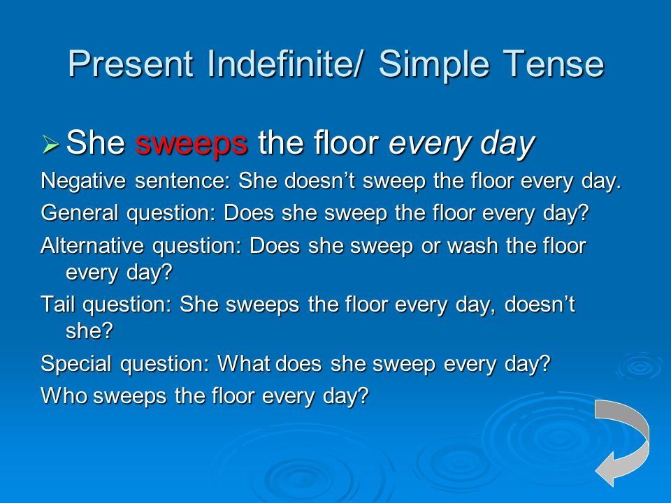 The tense of the verb in active voice ppt video online for Sentence of floor
