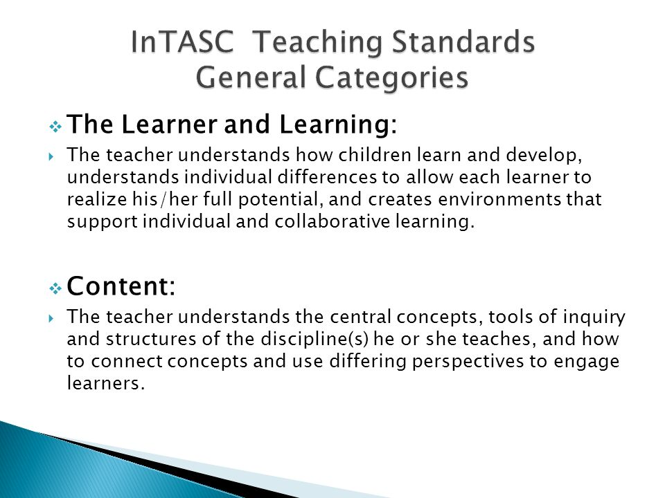 InTASC Teaching Standards General Categories