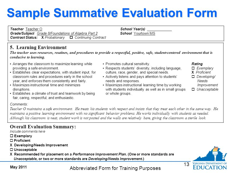 Interim evaluation documents evidence of meeting standards for Summative assessment template
