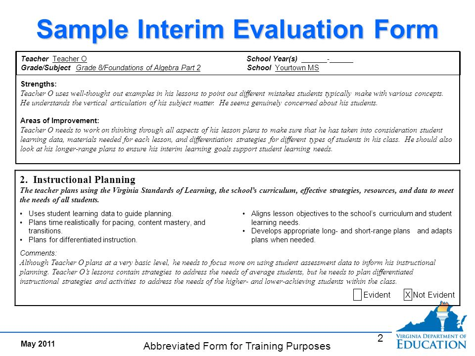 Interim Evaluation Documents Evidence Of Meeting Standards  Ppt